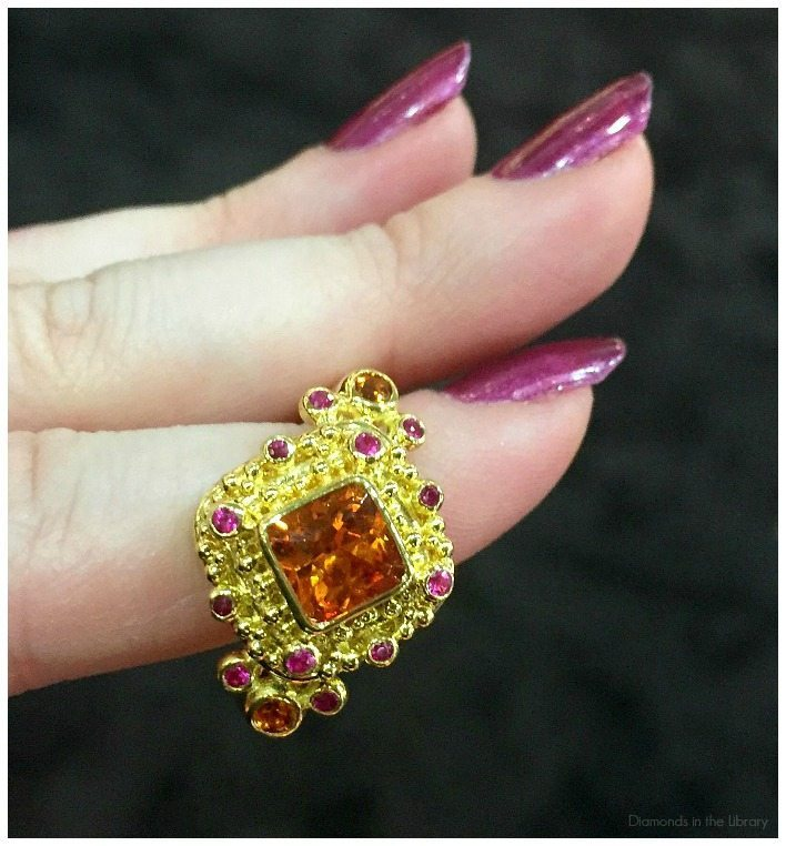 Beautiful granulated gold and gemstone ring by Zaffiro jewelry.