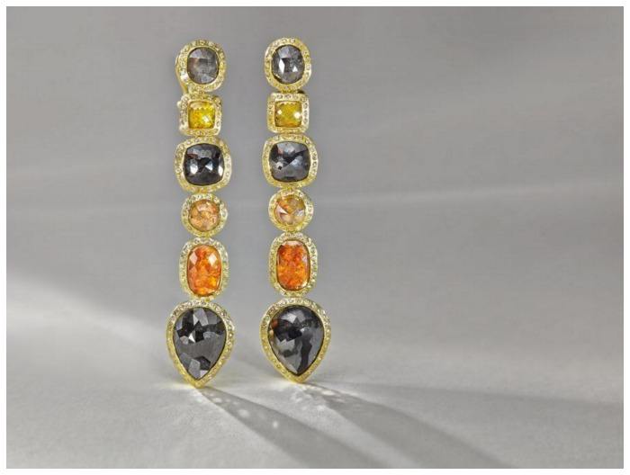 Colored diamond earrings in gold from Todd Reed