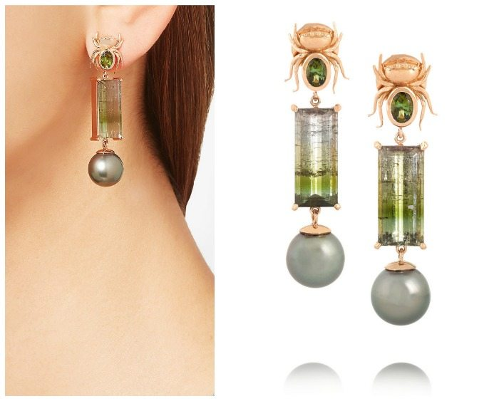 Daniela Villegas The Secret earrings, in rose gold with tourmaline and pearls. Note the spider surmounts.