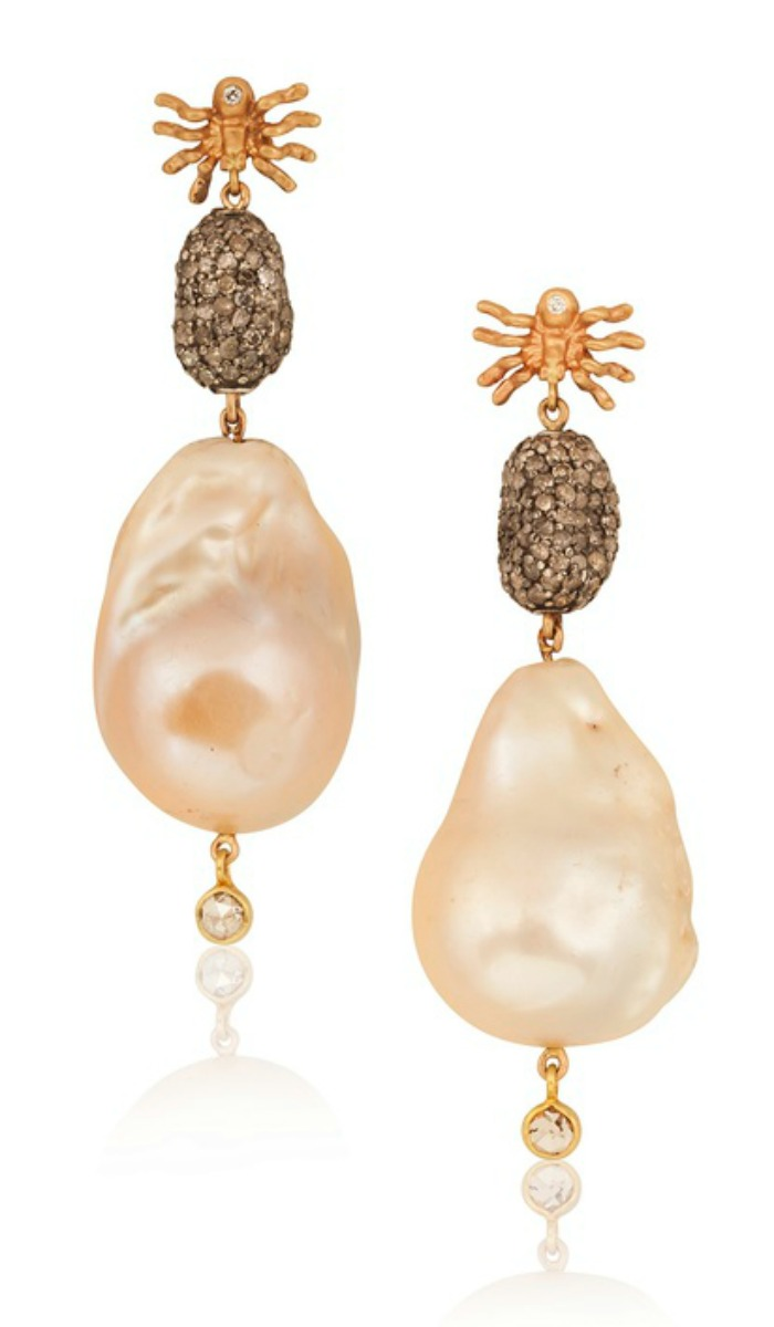 Pearl and diamond spider earrings by Anna Ruth Henriques