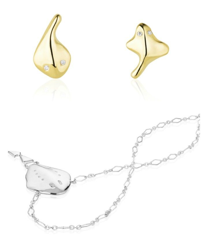 Singray earrings and necklace by Salt + Stone