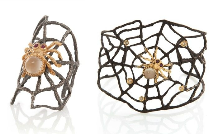Spider jewelry by Anna Ruth Henriques - a cuff and a statement ring in silver with diamonds, moonstone, annd rubies.