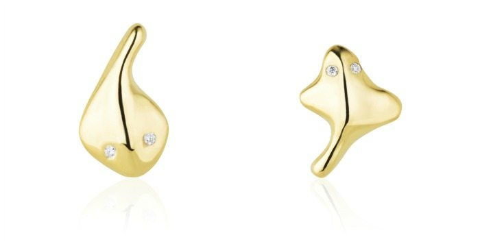 Stingray earrings in 18k yellow gold with diamond eyes by Salt + Stone