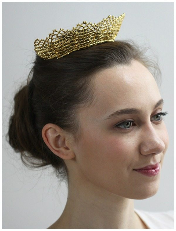 The Cosette gold lace tiara by Monika Knutsson is made from actual antique lace dipped in 24k yellow or rose gold. Also available in silver.