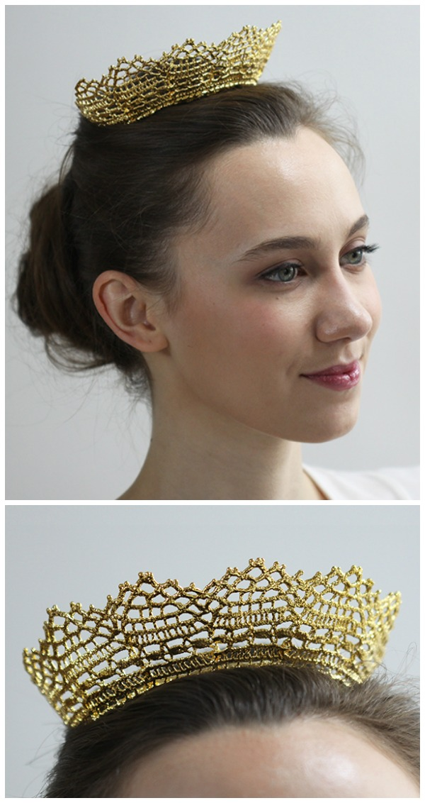 The gold lace Cosette tiara by Monika Knutsson is made from actual antique lace dipped in 24k gold.