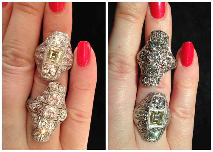 The same two diamond rings in different lighting. You can see why I say lighting is so important. These two beauties were from Lang Antiques.