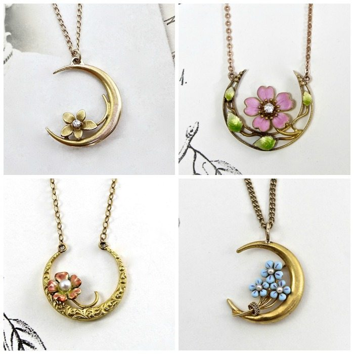 These pendants are all converted from Victorian honeymoon pins, which symbolized love.