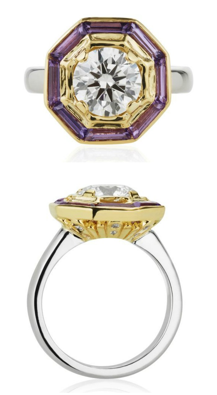 This is Treasure Chest - a custom made engagement ring by Salt + Stone, featuring purple sapphires and diamonds in white and yellow gold.