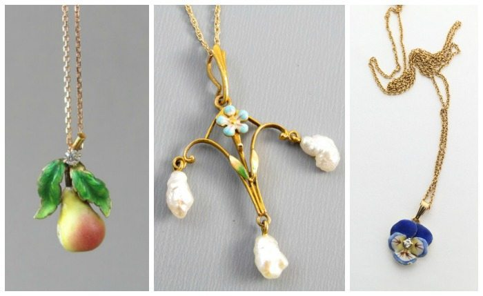Three antique necklaces with enamel details. A pear with diamond accent, a lavalier with pearls, and a diamond and enamel pansy pendant.