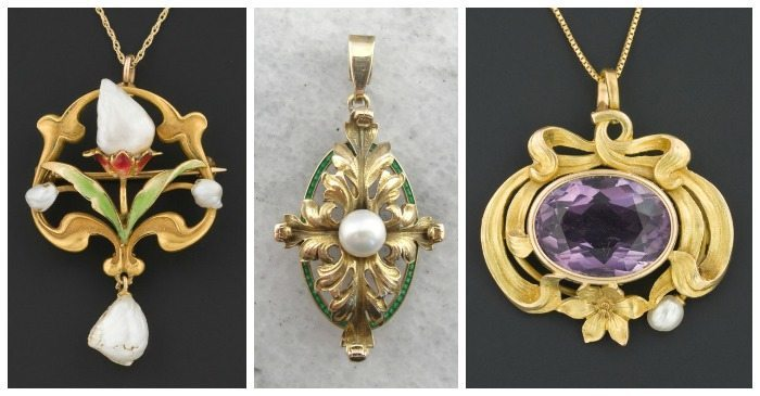 Three beautiful Art Nouveau pendants in gold with pearls.