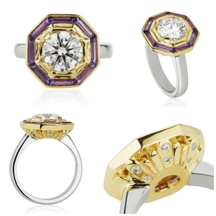 Treasure Chest - a custom made engagement ring by Salt + Stone, featuring purple sapphires and diamonds in white and yellow gold.