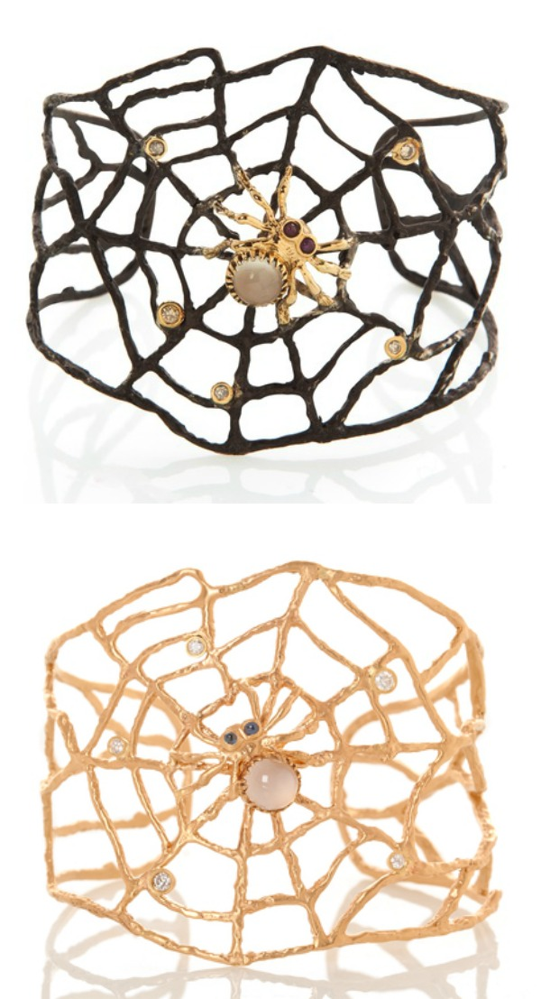 Two extremely cool spider cuffs by Anna Ruth Henriques. Gold or silver with diamonds, moonstone, and rubies.