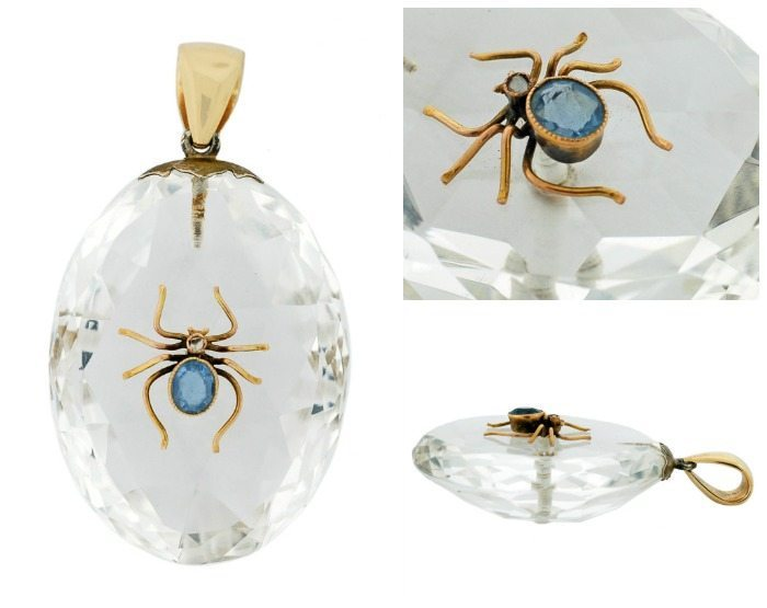 Victorian 14k gold, rock crystal, sapphire, and diamond spider pendant.