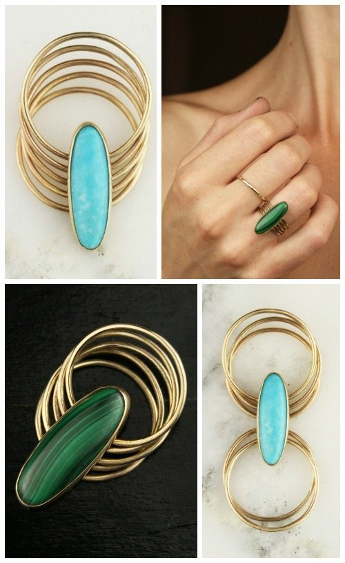 14k yellow gold multi stacking ring from Hoard Jewelry in turquoise or malachite.