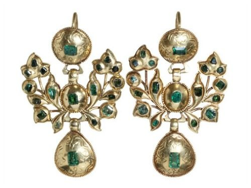 18th century Iberian gold and emerald earrings. Hand made in 18k gold and emeralds, sourced in colonial mines in Columbia and Peru.