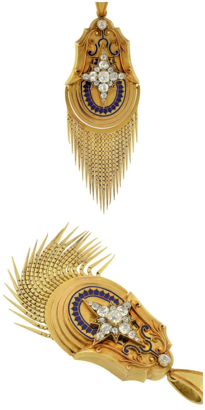 A Victorian 15k gold starburst blue enamel pendant with foxtail fringe.