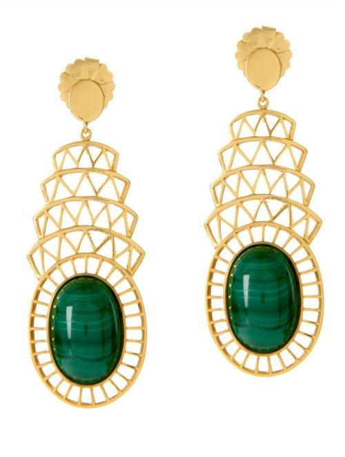 Alexandra Alberta Khrysler earrings in 18k gold plated silver with malachite.