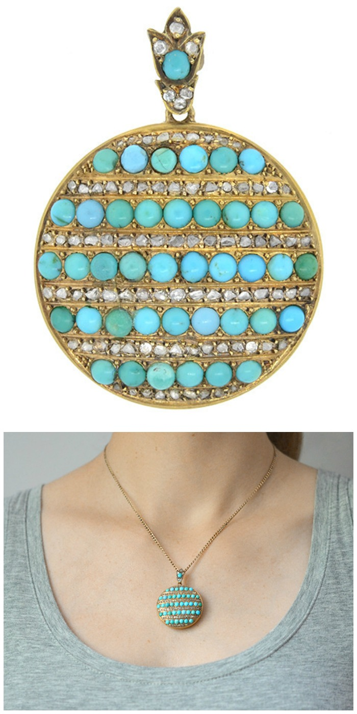 An antique Victorian 15k gold locket with turquoise and diamonds.