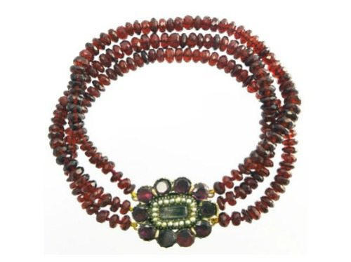 An antique early Victorian bohemian garnet, natural seed pearl and hair bracelet from Blackheath Jewelry.