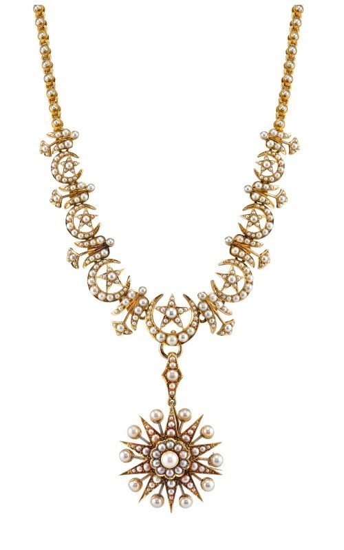 Anabel Higgins Georgina Necklace; Victorian-inspired design with pearls in 14k gold with detachable brooch.