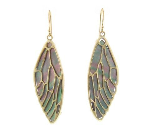 Annette Ferdinandsen cicada wing earrings with black pearl and 10k gold.