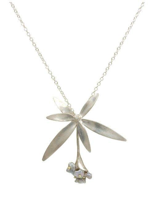Annette Ferdinandsen silver Wildflower pendant with Keshi pearls.