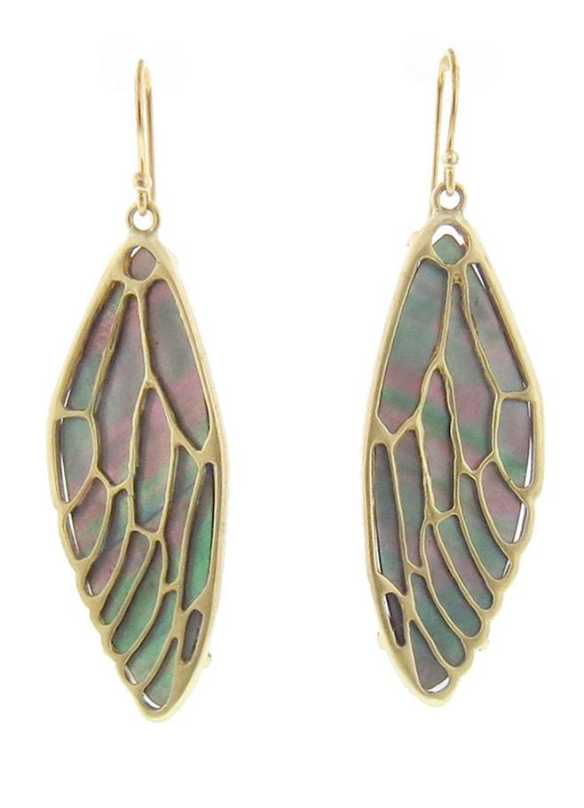 Annette Ferdinandsen's cicada wing earrings with black pearl and 10k gold.