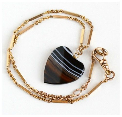 Antique 10k rose gold filled Victoria era heart necklace with banded agate.