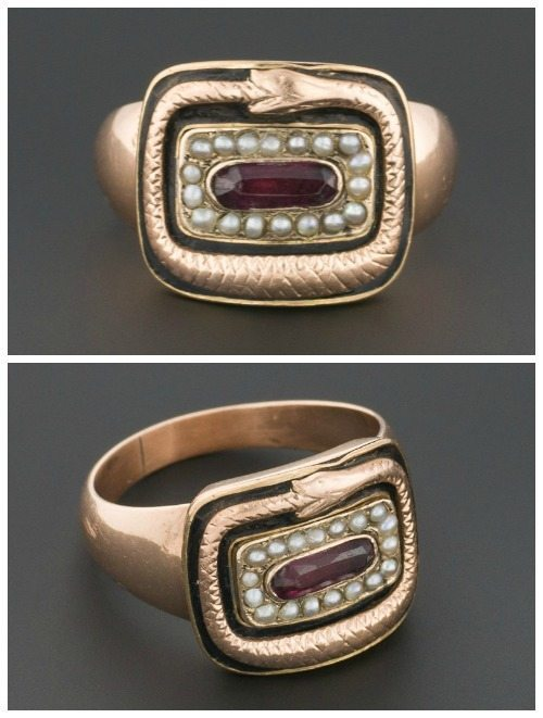 Antique Georgian snake mourning ring with garnet, black enamel, and pearls.