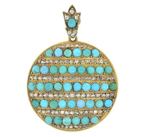 Antique Victorian 15k gold locket with turquoise and diamonds.