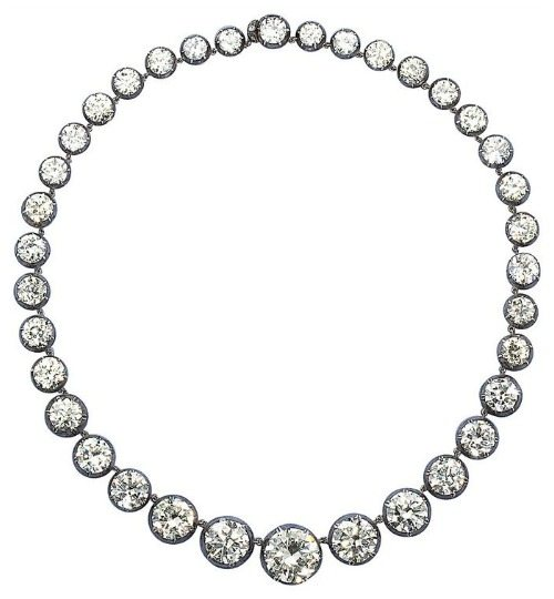 Antique graduated diamond necklace; 85.90 carats.