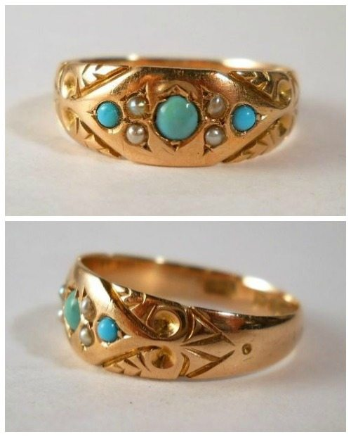 Antique late Victorian ring in 9k gold with turquoise and pearls. At Susie's Timeless Treasures.