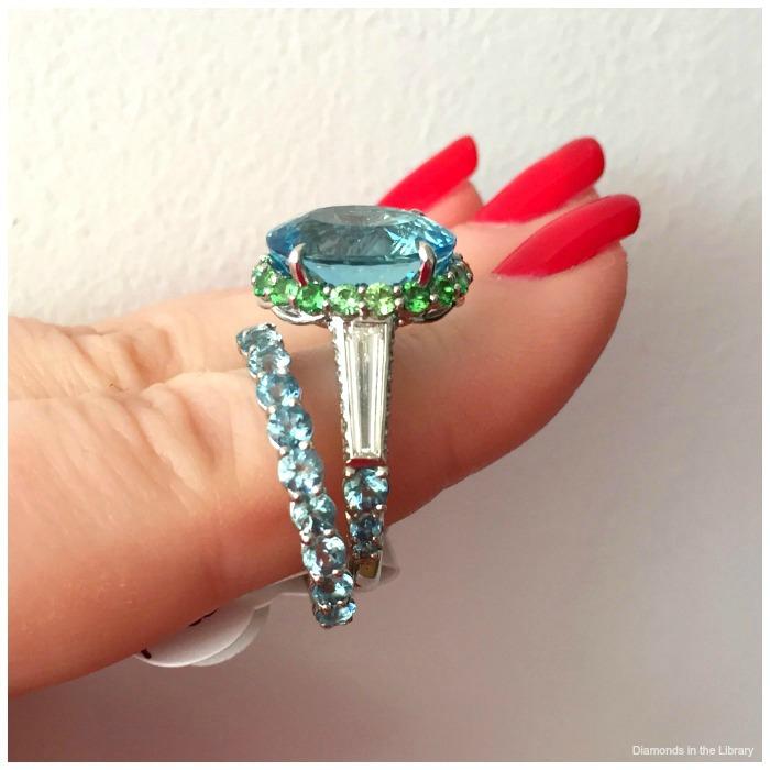 Aquamarine wedding set by Robert Pellicca at JR Dunn Jewelers. With diamonds and tsavorite garnets.