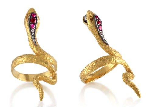 Arman Sarkisyan's 22k gold snake ring with black diamonds and pink tourmaline. At Stone and Strand.