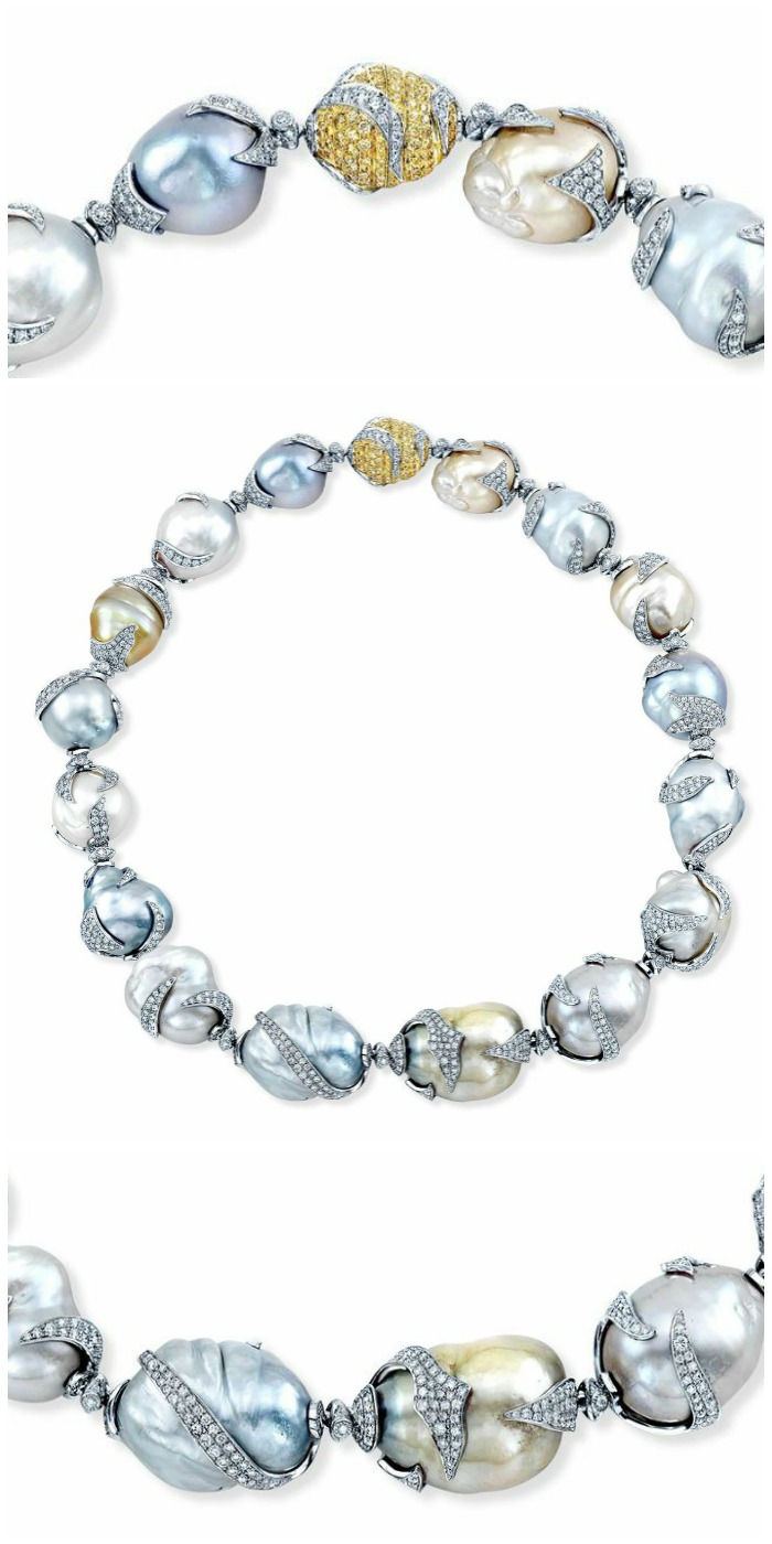 Aspen Diamond Company graduated multicolored South Sea pearl and diamond necklace in platinum. 31 cts white diamonds, 5 cts vivid fancy yellow.