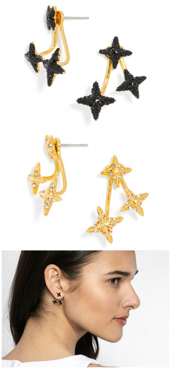 BaubleBar's Triangulum Jacket earrings, in both black and gold.