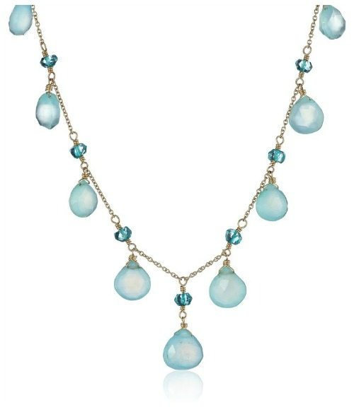 Dana Kellin Peruvian opal, chalcedony heart, and apatite rondelle cascaded necklace.