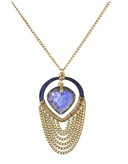 Dana Kellin labradorite window pendant necklace in blackened silver with gold chains.