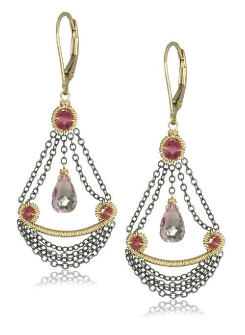 Dana Kellin pink quartz and chain swag and drop chandelier earrings.