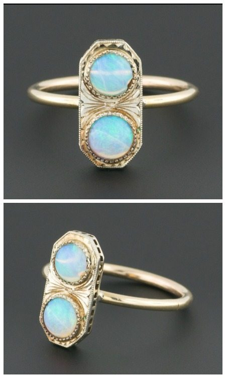 Double opal ring made out of a converted antique Art Deco stickpin.