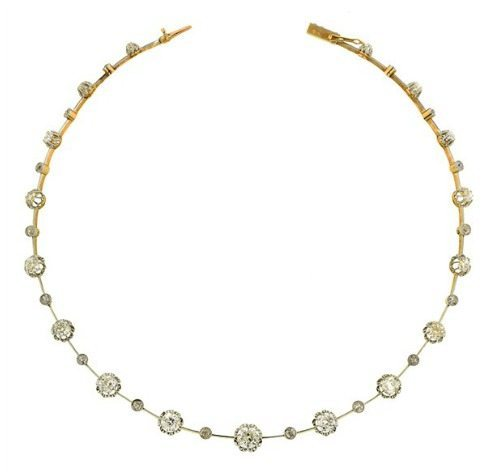 Edwardian Old Mine Diamond Necklace in platinum topped 18k gold. 10cts of Old Mine cut diamonds, with knife wire links. French, circa 1915.