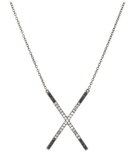 95c32381a21b16 Eva Fehren Ombre X pendant necklace with white, black, and gray diamonds in  blackened