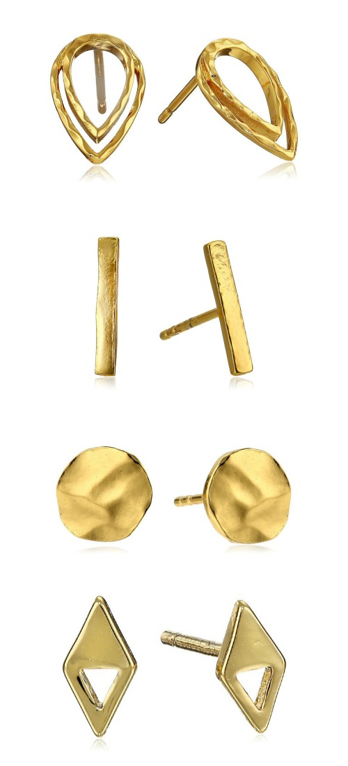 Gold plated stud earrings from Gorjana - so fabulous, so affordable.