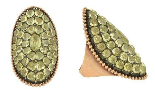 Huge antique Georgian chrysoberyl ring in 12k gold. Circa 1830's.