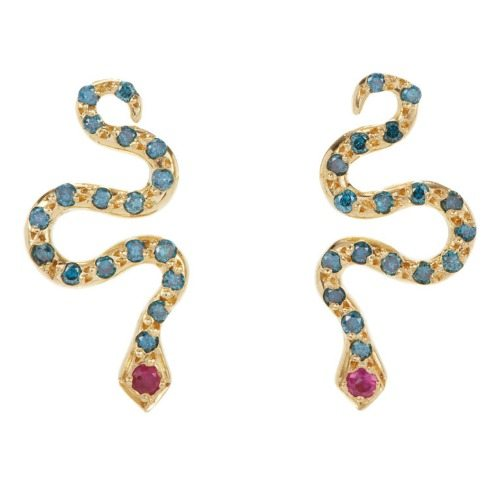 Ileana Makri Little Snake Studs in gold with blue diamonds and rubies.