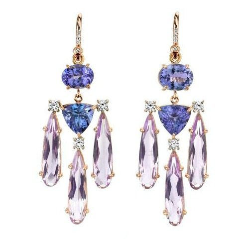 Irene Neuwirth's tanzanite and Rose of France drop earrings in 18k rose gold