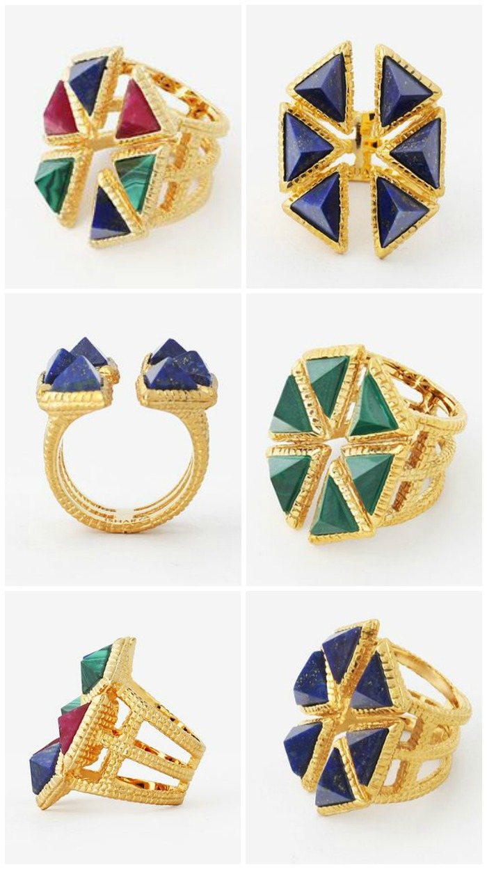 Isharya Croc triangle ring in blue lapis, green malachite, or multicolor with red quartz.
