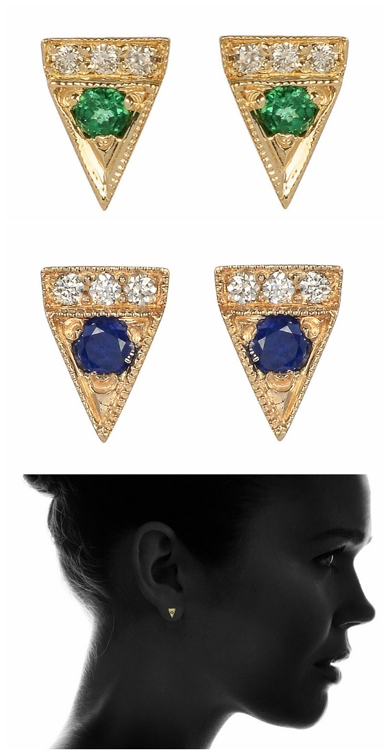 Jennie Kwon Deco Point stud earrings in yellow gold with diamonds and sapphires or emeralds.
