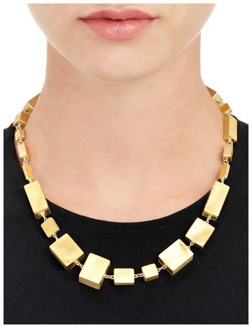 Judy Geib cuboid-link necklace in satin-finished 24k and 18k gold.