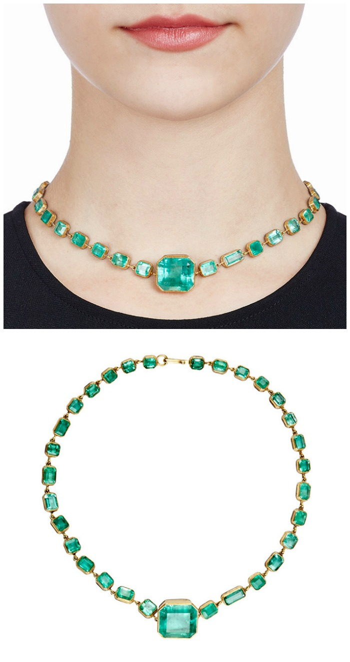 Judy Geib's Colombian emerald Rivière with 66.73 cts of bezel-set Colombian emeralds in 22k gold